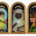 Trilogy of the time, oil on wood
